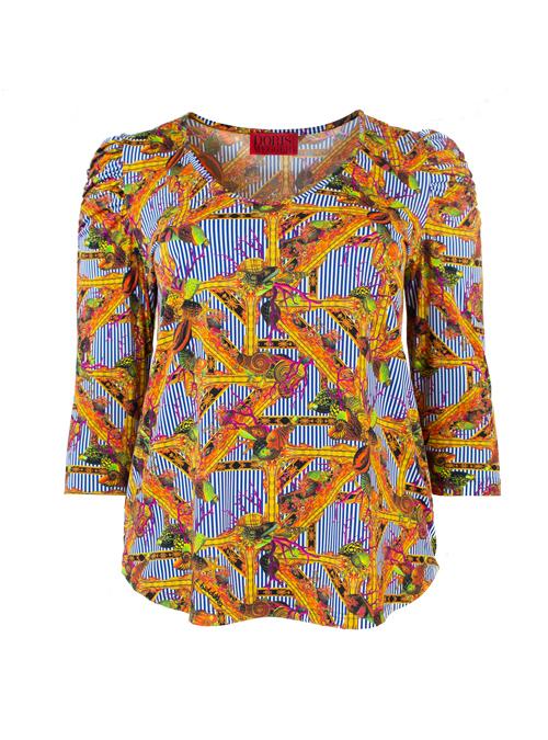 Ruffle Sleeve Shirt, La Mer, Stripes