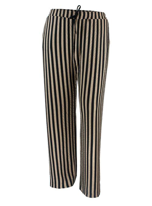 Wide Leg Pants, Moiré Stripes, Black and Tan