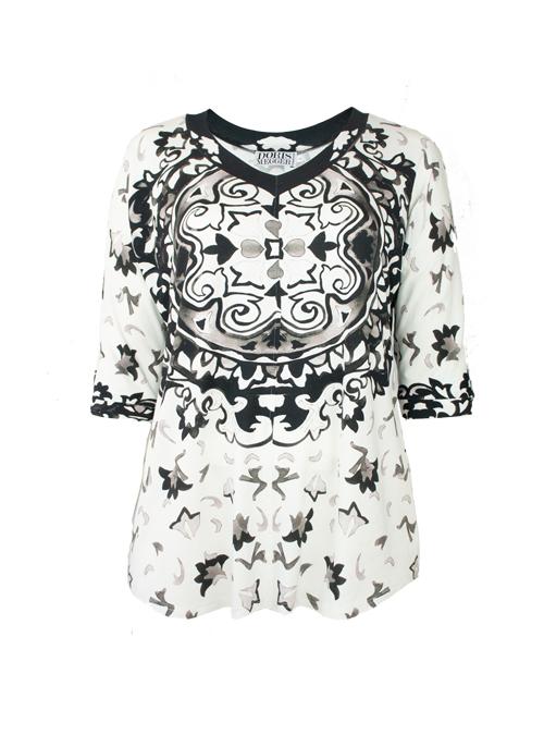 New Swing Shirt, Black & White Fantasy, Modest V-Neck