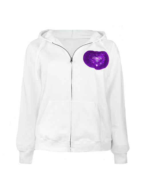 Hoodie, White & Purple, Embroidered, Io Vado Edition