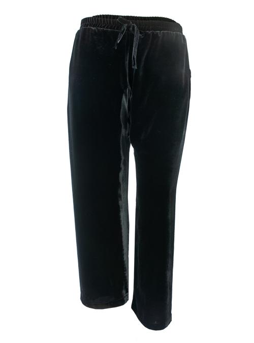 Velvet Pants, Wide Leg, Mystic Black
