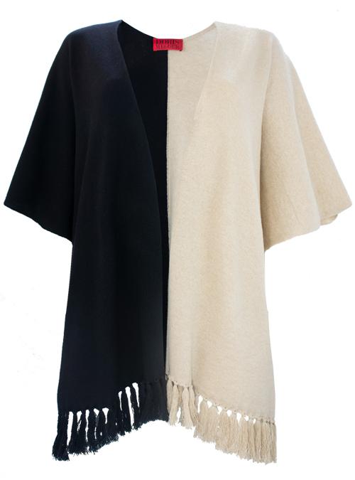 Super Cozy Cashmere Poncho, Two-Tone Colorblocking