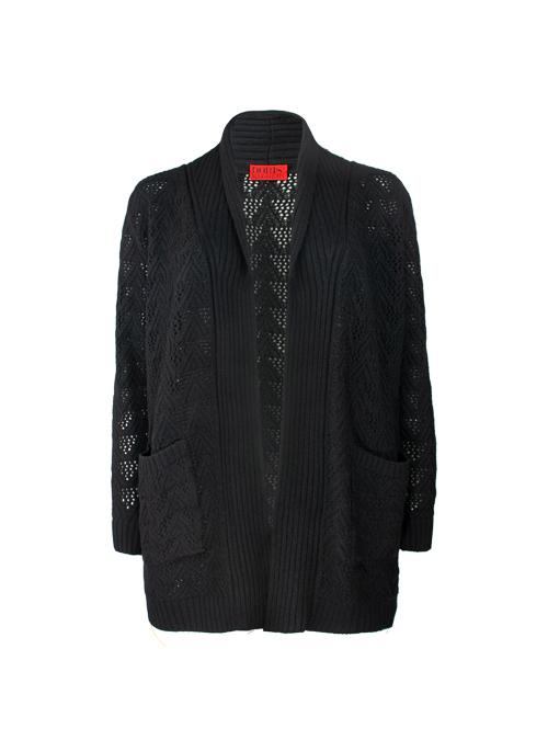 Long Knit-Cardigan Cashmere, Filati Loro Piana, Black