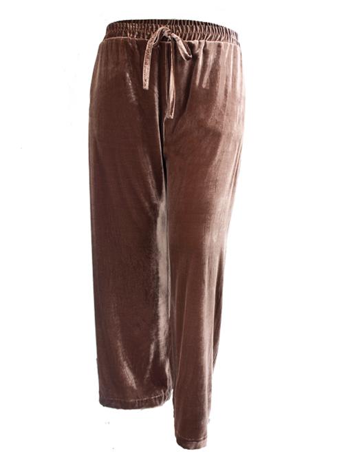 Velvet Pants, Wide Leg, Dark Chestnut
