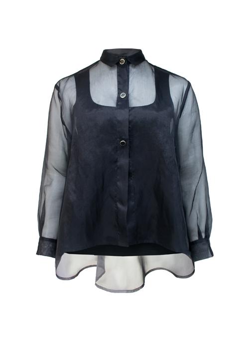 New Silhouette Blouse, Sheer Black, Silk