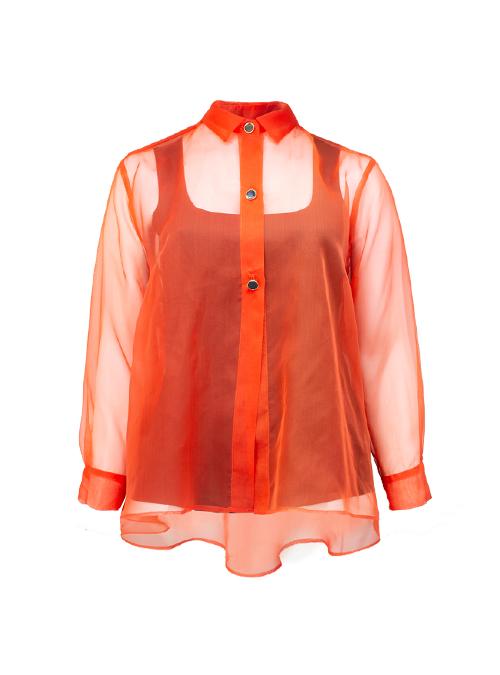 New Silhouette Blouse, Solar Orange, Silk