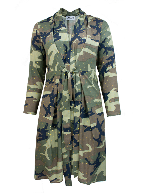 Navigli Dress, Camouflage, Gold Sparkle
