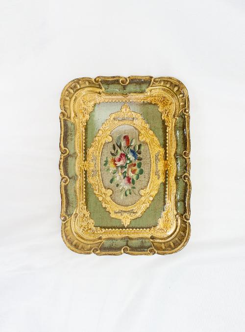 Palazzo Pitti Tray, Handpainted Flowers, Small, Rectangular