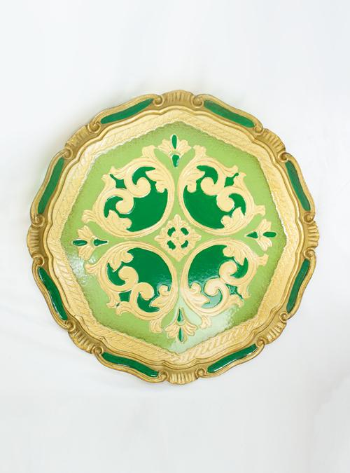 Palazzo Pitti Tray, Green Gold, Circular